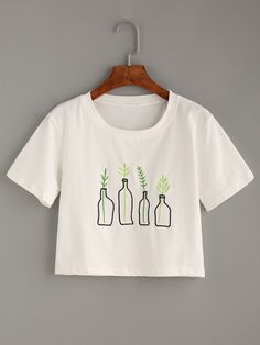 Shop White Plant Embroidered T-Shirt online. SheIn offers White Plant Embroidered T-Shirt & more to fit your fashionable needs.