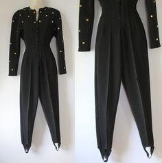 Vintage suit Studded Black Jumpsuit 1980s Stir ups Pants Romper One Piece Pant Outfit Onesie Jumper Womens Playsuit / size XS S M