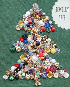 This fun bejeweled Christmas tree is simple to make - and a great way to use your grandmother's jewelry! Create a keepsake for your family!