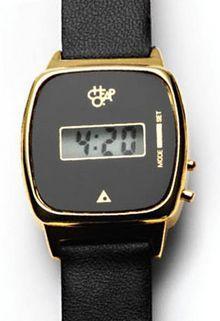 Cheapo Ladies Metal Digital Leather Strap Black Gold