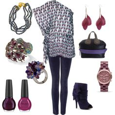 Navy and Fuchsia Peacock, created by blass.polyvore.com