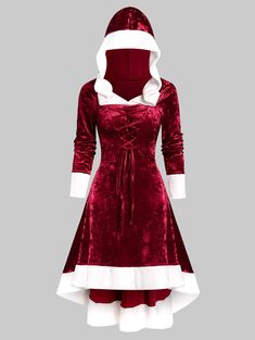 Hooded Faux Fur Trim Lace-up High Low Flannel Dress Hooded Faux Fur Trim Lace-up High Low Flannel Dress Work Christmas Party Dress, Plus Size Christmas Dresses, Flannel Dress, Denim Shirt Dress, Cute Dresses, Casual Dresses, Teen Dresses, Midi Dresses, Spring Dresses