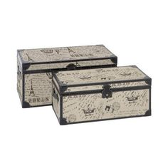 Aspire Home Accents 66693 Paris Script Rectangular Burlap Trunk (Set (235 CAD) ❤ liked on Polyvore featuring home, home decor, small item storage, furniture, decor, accents, boxes and baskets, cream, paris home decor and storage trunk