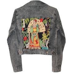 Gray Denim jacket Frida Kahlo embellished jacket Frida print jacket... ($200) ❤ liked on Polyvore featuring outerwear, jackets, tops, coats, pattern jacket, print jacket, beaded jacket, embellished denim jacket and grey jacket