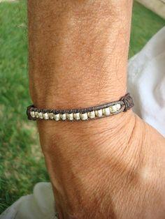 Men's Leather Macrame Bracelet Handmade Silver by SonseraeDesigns, $30.00