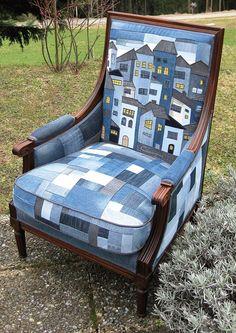 Herman Miller Aeron Chair Size B Info: 5626586450 Denim Furniture, Repurposed Furniture, Cool Furniture, Painted Furniture, Patchwork Chair, Denim Crafts, Upcycled Crafts, Recycled Denim, Soft Furnishings