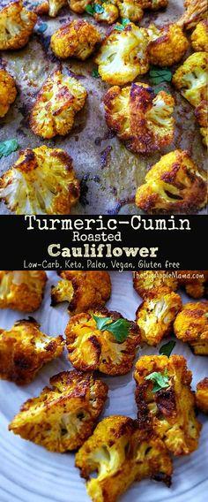Turmeric-Cumin Roasted Cauliflower – Low Carb, Keto, Paleo, Vegan, Gluten free - 2020 My Cooking Ideas Veggie Recipes, Vegetarian Recipes, Cooking Recipes, Healthy Recipes, Delicious Recipes, Cooking Time, Tasty, Clean Eating, Healthy Eating