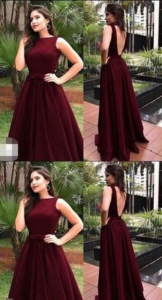 charming long prom dress backless a-line satin formal evening dress M2603