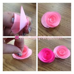 Easiest spiral paper  rose. Can use tissue paper or lightweightpaper then cut many at once
