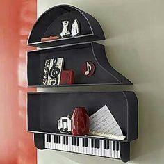 20 Ideas Music Studio Room Design Piano For 2019 Wall Shelf Decor, Diy Hanging Shelves, Display Shelves, Wall Shelves, Vieux Pianos, Piano Design, Music Furniture, Music Studio Room, Music Rooms