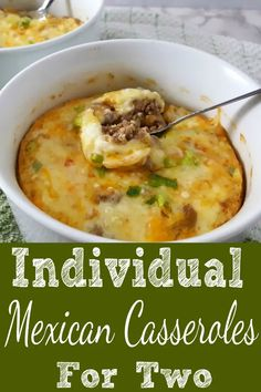 mexican cooking These easy Individual Mexican Casseroles have mild flavors of green chiles combined with onions, garlic, ground beef, cheese and Mexican spices making this hot dish del Mexican Dishes, Mexican Food Recipes, Beef Recipes, Cooking Recipes, Healthy Recipes, Mexican Cooking, Cooking Gadgets, Indian Recipes, Gourmet Recipes