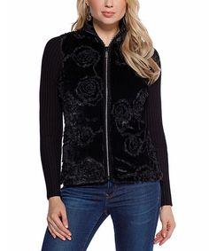 Look at this #zulilyfind! Black Floral Faux Fur Zip-Up Cardigan by Belldini #zulilyfinds