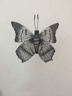 Butterfly, tattoo design, dotwork, Josh's illustrations, black&white #mywork