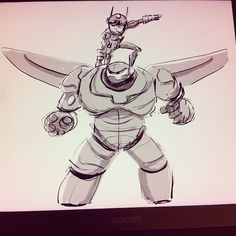 My Jin Kim warm up of Baymax And Hiro#BH6#disney#drawing #art #artwork #sketches#animation