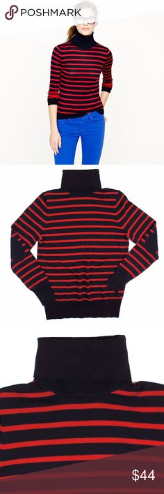 """JCREW Merino Stripe Elbow Patch Turtleneck Sweater Excellent condition! This navy blue and red merino stripe turtleneck sweater from JCREW features navy elbow patches and a turtle neckline. Made of 100% merino wool. Measures: bust: 37"""", total length: 26"""", sleeves: 25"""" J. Crew Sweaters Cowl & Turtlenecks"""