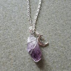Amethyst and Moon Pendant by MyLittleEarthlings on Etsy