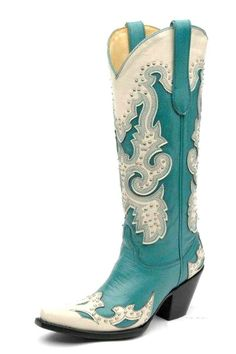 Turquoise/white cowgirl boots. I LOVE these!!