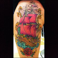 Pink sail ship tattoo by Ben Gun Mantra Tattoo, 3 Tattoo, Hello Beautiful, Love Tattoos, Purple, Pink, Tatting, Body Art, Ship