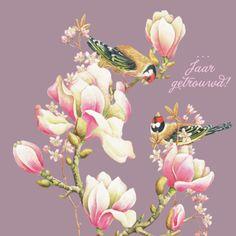 Paarse kaart met vogels en roze bloesem- Greetz