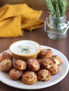 Rosemary Pretzel Bites with Honey Mustard Dipping Sauce from Completely Delicious