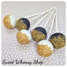 12 Gold and Black or White Cake Pops for by SweetWhimsyShop