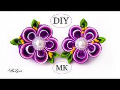DIY Scrunchy with Kanzashi flower Diy Lace Ribbon Flowers, Ribbon Flower Tutorial, Cloth Flowers, Kanzashi Flowers, Ribbon Art, Ribbon Hair Bows, Diy Ribbon, Fabric Ribbon, Ribbon Crafts
