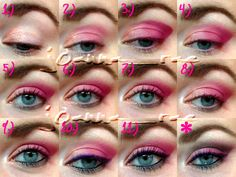 CLICK ON PIC, TO BE TAKEN TO BEAUTYLISH, FOR STEP BY STEP INSTRUCTIONS #makeup #cosmetics #eyeshadow #pink #valentine #howto #eyes #eyemakeup #blueeyes