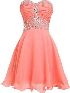 chiffon prom dresses,A-line Sweetheart Knee-length Chiffon Homecoming Dress