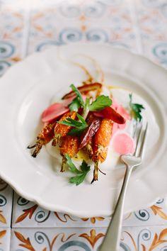 Honey + orange roasted carrots with whipped feta + pickled radish | My Darling Lemon Thyme