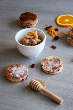 Cranberry and Orange Welsh Cakes with Honey and Cinnamon Butter recipe baked by Jane.