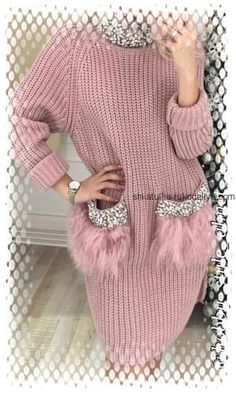 Роскошное платье спицами Stylish Jeans Top, Stylish Outfits, Fall Outfits, Diy Clothes, Clothes For Women, Vintage Crochet Patterns, Knit Sweater Dress, Diy Fashion, Knitwear