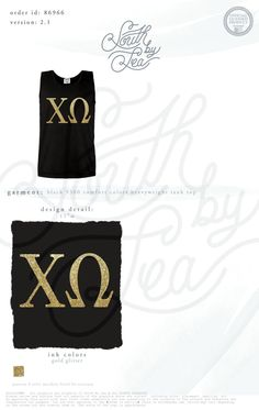 Chi Omega | Chi O | Chi O Gold Foil Tank | Gold Foil Sorority Tank | Gold Foil Block Letters | South by Sea | Sorority Shirts | Sorority Tanks | Greek Shirts