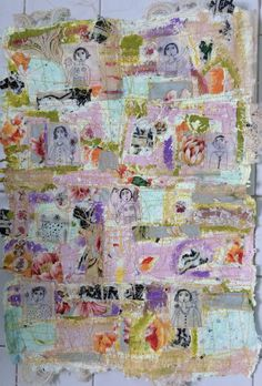 Handmade paper with fabric, ink drawing and sewing