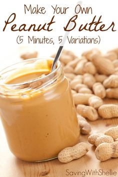 How to make your own peanut butter in just 5 minutes. No junk. No preservatives. See recipes for Creamy, Chunky, Cinnamon-Raisin, Honey and Chocolate Peanut Butter. You'll never buy store bought again! (peanut butter dessert recipes how to make) Homemade Peanut Butter, Peanut Butter Recipes, Chocolate Peanut Butter, Creamy Peanut Butter, Vitamix Peanut Butter, Making Peanut Butter, Chocolate Cake, Comida Diy, Do It Yourself Food