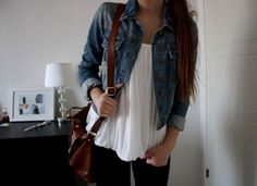 White blouse with jean jacket