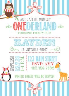 Winter Onederland party invitation by RAWkonversations on Etsy, $12.00