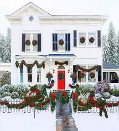 I love the Christmas colors!  (Repost from: Photo by: Frontgate. Christmas Time Is Here, Christmas Porch, Outdoor Christmas Decorations, Winter Christmas, Christmas Lights, Holiday Decor, Christmas Music, Christmas Window Wreaths, Budget Holiday