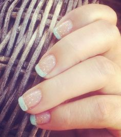 Summer french diy nails hair pinterest french nail tip easy cute french tips tipped baby blue glitter sparkle summer fall winter manicure easy quick fast ideas diy do it yourself at home try essie mint candy solutioingenieria Images