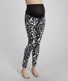 Loving this Black & White Mat Fold-Over Maternity Ankle Leggings on #zulily! #zulilyfinds