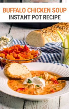 Learn how to make Instant Pot buffalo chicken soup - a favorite appetizer and finger food turned into a zesty and comforting pressure cooker main dish. Made with vegetables, chicken, hot sauce, and cream cheese amongst other yummy things, this chicken soup is spicy and super flavorful, however, you can mellow it out to your taste.