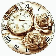 Rosen und Uhr - for the roses Shabby Chic Clock, Alice In Wonderland Diy, Clock Craft, Diy Christmas Gifts For Family, Steampunk Design, Wood Burning Art, Cross Paintings, Vintage Labels, Pyrography