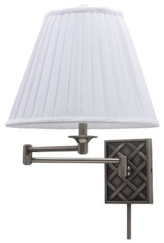 House of Troy Decorative 1 Light Swing Arm Wall Sconce with Woven Pattern Antique Silver / White Indoor Lighting Wall Sconces Swing Arm Swing Arm Wall Sconce, Wall Sconce Lighting, Wall Sconces, Piano Lamps, Baskets On Wall, Wall Basket, Classic Lighting, Thing 1, Fabric Shades