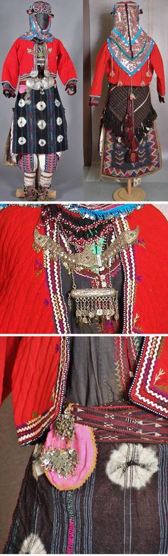Traditional bridal costume of the Karakeçeli villages in the district of Keles (south of Bursa). Clothing style: 1925-1950. Close-ups of the breast jewelry (breast chains & 'muskalık'/amulet holder), and of the 'çarpana kemer' (tablet/card woven waist belt) & 'para kesesi' (purse for coins), adorned with glass beads and metal sequins. (Ethnographical Museum, Antwerp).