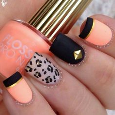 Matte nail designs · 🐆▫ 🐆 pretty manicure difficulty level: easy by: fabulous nails Cheetah Nail Designs, Leopard Nail Art, Cute Nail Designs, Leopard Prints, Animal Prints, Cheetah Print, Cheetah Nails, Great Nails, Love Nails