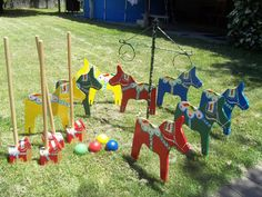 Dala Horse croquet set hubby and I made. He does the wood and metal work, I do the painting.