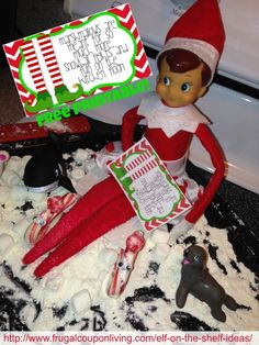 Dozens of Great Elf on the Shelf Ideas found on Frugal Coupon Living. We found Elf in the Snow with Marshmallows, Friends and Flour. FREE Printable Note.
