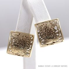 MING'S HAWAII PHOENIX SQUARE 14K YELLOW GOLD FRENCH CLIP EARRINGS