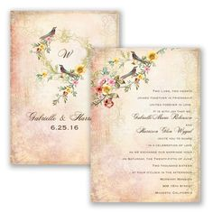 Vintage Flowers - Wedding Invitation