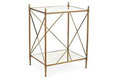 "Liza Side Table, Gold on OneKingsLane.com $225 20.25""W x 16""D x 27""H gold/mirror ~ brass/steel/MDF/mirrored glass"