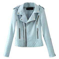 Casual Solid Color Lapel Zipper Long Sleeve Jacket 2 Piece Outfits, Leather Jacket, Zipper, Long Sleeve, Casual, Sleeves, Jackets, Color, Fashion